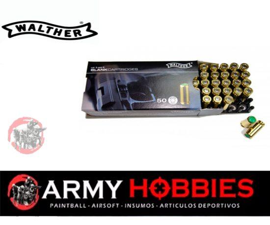 Munición Detonadora-Fogueo 9 MM Walther 50 ud